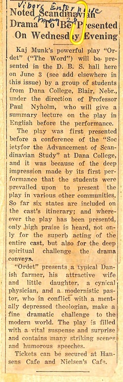 1942 newspaper announcement for the Dana College theater performance in Viborg.